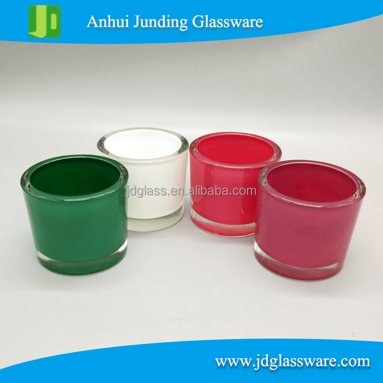 wholesale promotional coloured straight sided thick bottom glass candle holder