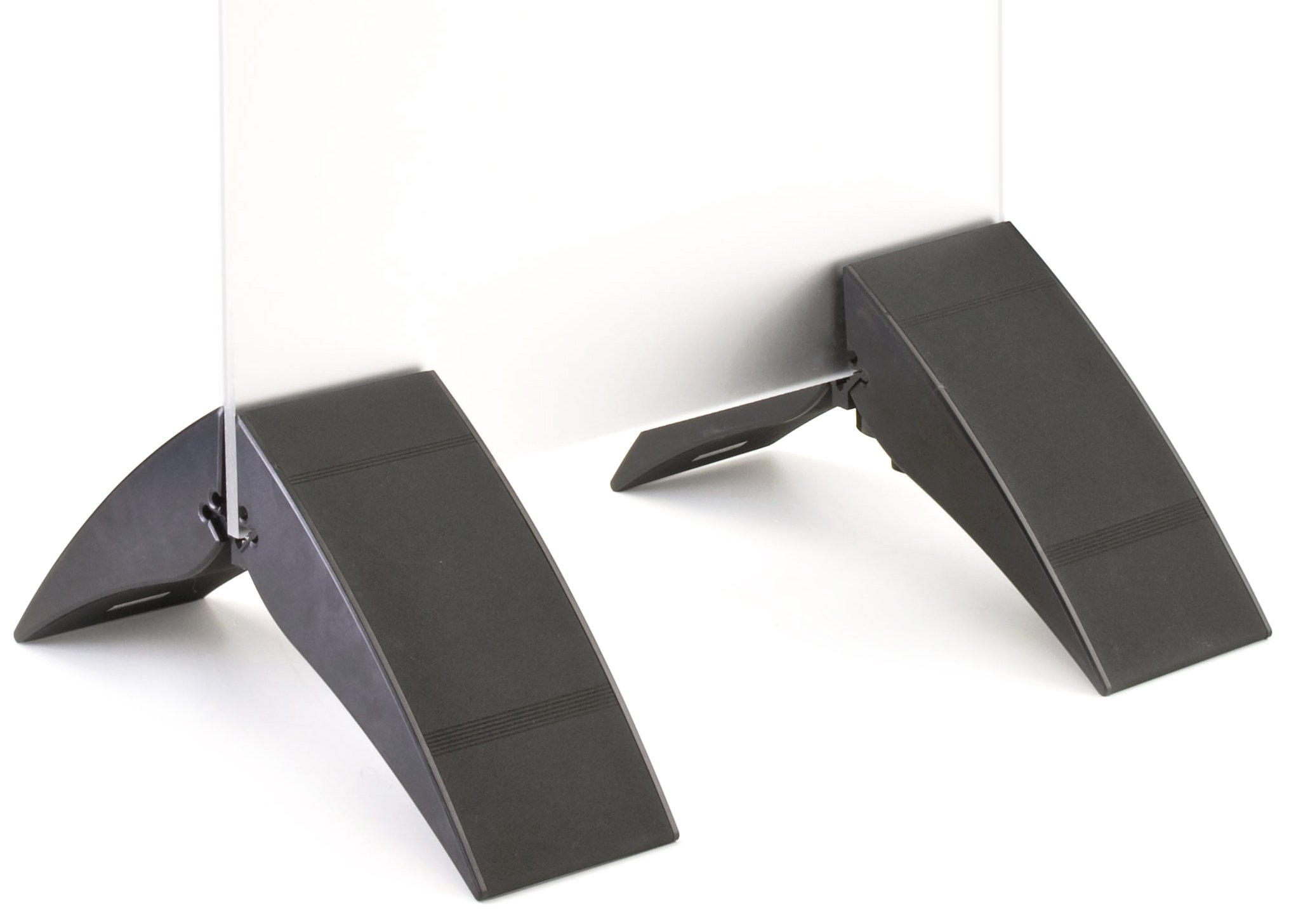Displays2go Floor-standing Sign Holder Stand for Poster Boards, Set of 2 Sign Clamps for Displaying Different-sized Boards, Adjustable, Black, Aluminum (SET2BK10)