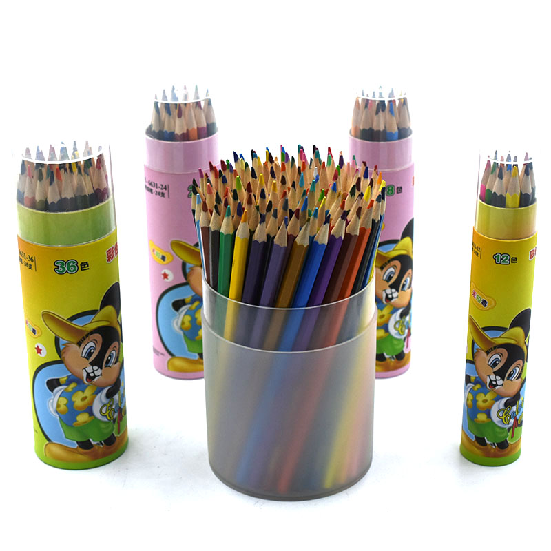 Top Quality 7 Inches Length Natural Wood Mini Promotional Color Pencil Set In Color Box 2018 News