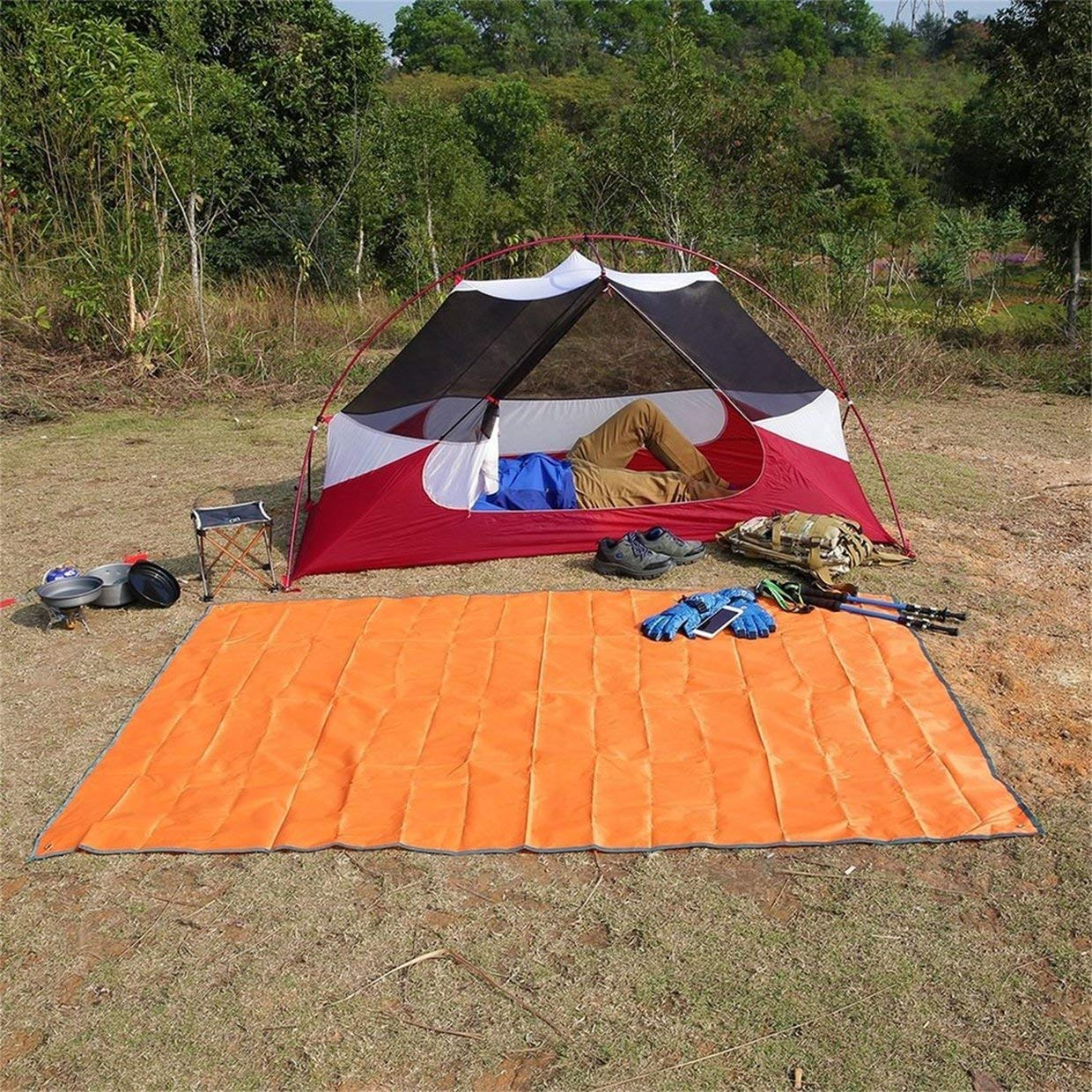 Qewmsg OUTAD Waterproof Camping Beach Tarp Mat for Picnics Tent Footprint Sunshade