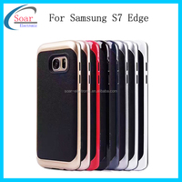 The annual hot sell shockproof 2 in 1 phone case for Samsung S7 edge,tpu +leather electroplate case for Samsung S7 edge