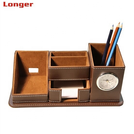 Promotion gift customized PU leather pen holder multi-purpose desk organizer