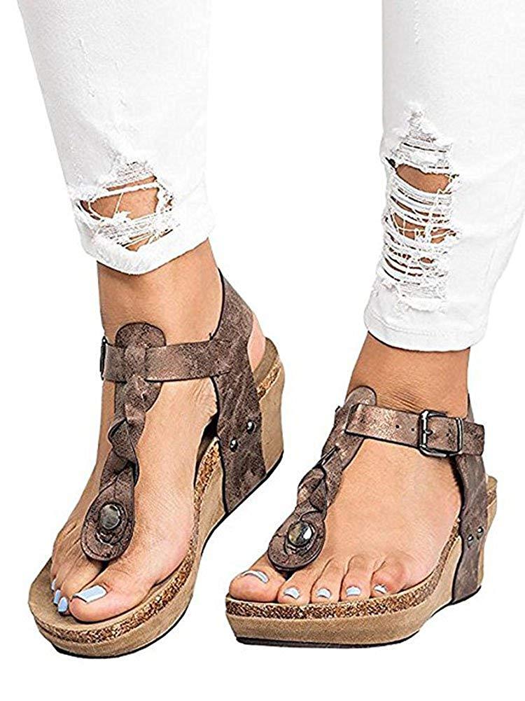 Women Boho Braided Wedge Sandals T-Strap Platform Wedge Heel Sandal Shoes