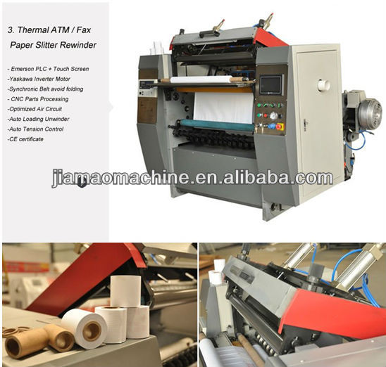 Roll to roll fax/POS/ATM paper slitter Machinery price