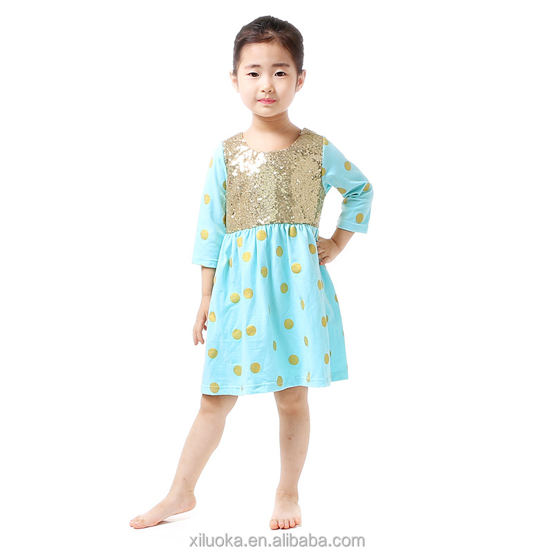 Children gold polka dot cotton frocks design kids sequins baby girls dresses