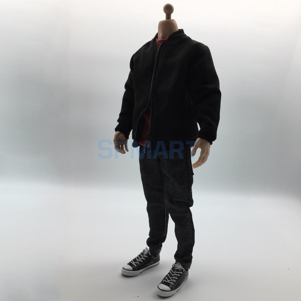 """1//6 Scale Male Black T-shirt //Jeans//Belt Casual clothes For 12/"""" Male Figure"""