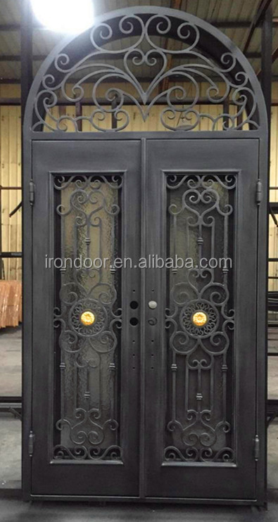 Round transom top wrought iron double entry door with screens and locks