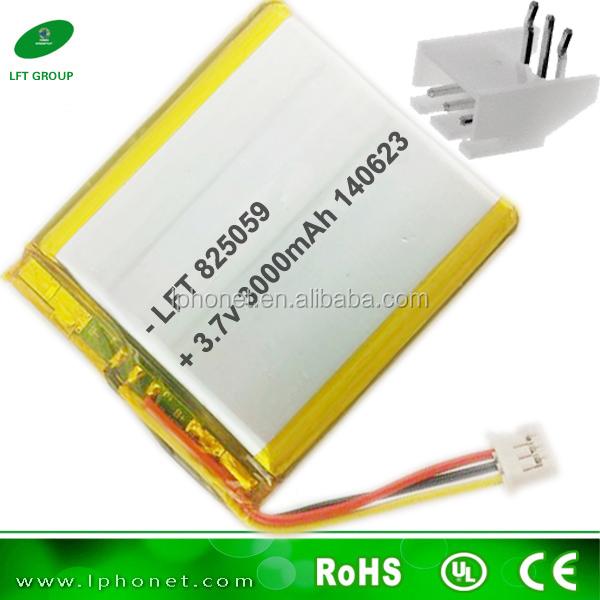 Lithium Polymer Battery 3.7v 3000mah 825059 Battery Plug Mating ...