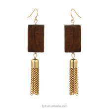 Fashion Cheap Price Tassel Drop Wooden Earrings with Dark Brown Color Quadrangle Design Wood Jewelry