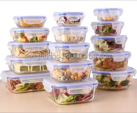 Microwave Oven High Borosilicate Glass Food Storage Container With Airtight Lid /Glass Lunch Box With Vent Lock Lid