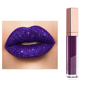 OEM Private Label Makeup Waterproof Shimmer Lip Gloss Glitter Purple Lip Liquid Lipstick