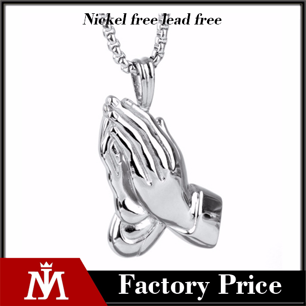 Most popular hand shape pendant charms wholesale with silver and 18k gold necklace