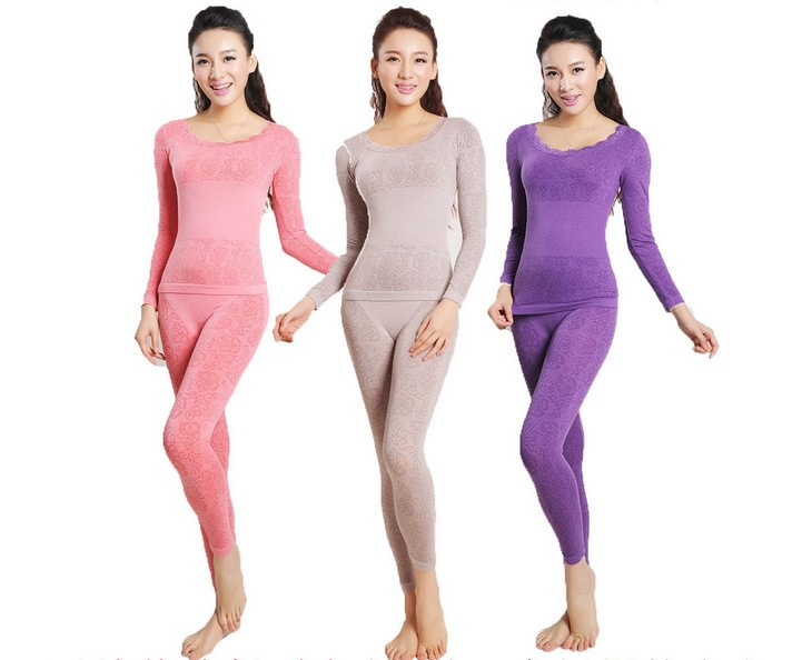 Modal seamless thin beauty care body shaping thermal underwear slim long johns long johns women's cotton sweater underwear set