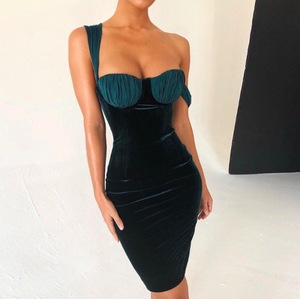 2019 New fashion Women Elegant Vintage spaghetti straps slash neck high waist sexy dress Velvet Dresses