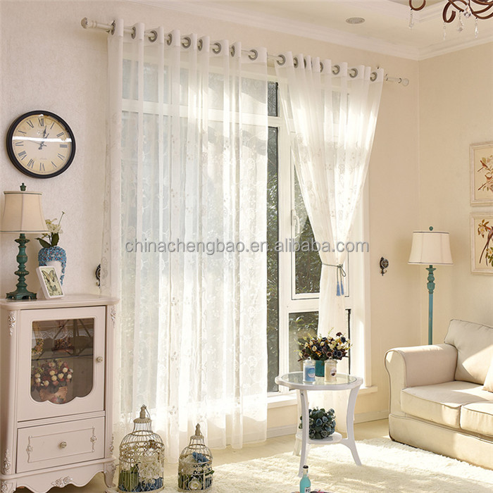 Modern embroidery sheer sunscreen curtain fabric living room curtain