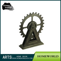 Antique Wood Craft Popular Wheel Gear Design Table Home Decoration Set
