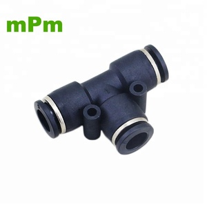 Black Plastic PE PUT T Junction 3 Way Union Tee Connector 6MM Pipe Quick Connect Hose Fitting Pneumatic