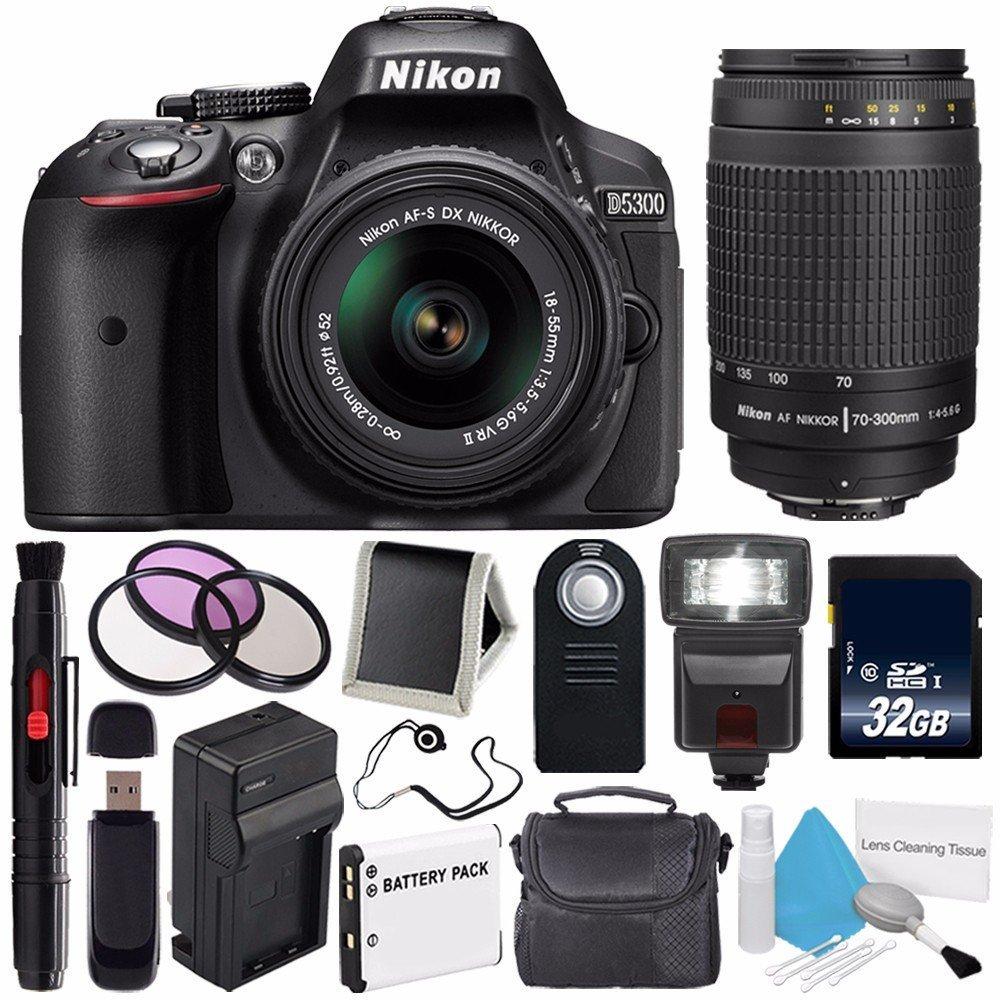Nikon D5300 Digital Camera w/ 18-55 VR II Lens (International Model No Warranty) + Nikon 70-300mm f/4-5.6G Zoom Lens + 32GB SDHC Class 10 Memory Card + External Flash Bundle 44
