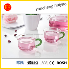 table ware glass cup with crystal handle tea cup