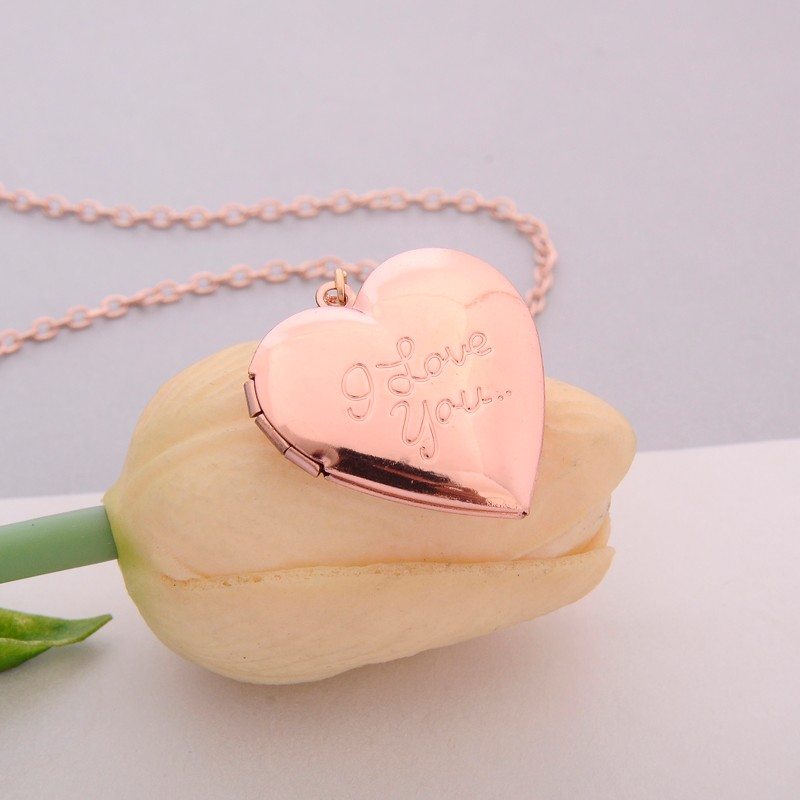 265aaa8f89 ... Vintage Gift For Lover Couples Custom Message Necklace Pendant - Rose  gold
