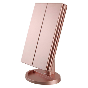 Chinese Best Hollywood Design Three-Folding 21 Adjustable Led Lamp Makeup Mirror With Touchable Dimmable Light