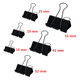 Amazon Hot Sell 6 Size Black Metal Binder Clips Assorted Sizes