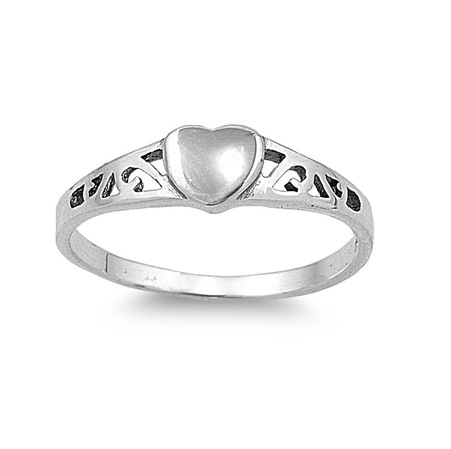 CloseoutWarehouse Heart Filigree Ring Sterling Silver 925