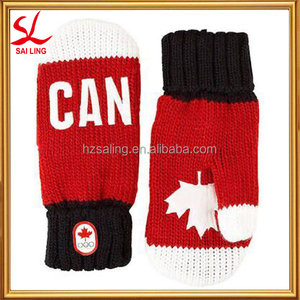 2016 Canada Snow Top Red Mittens Mitts Adult Acrylic Winter Knit Mittens