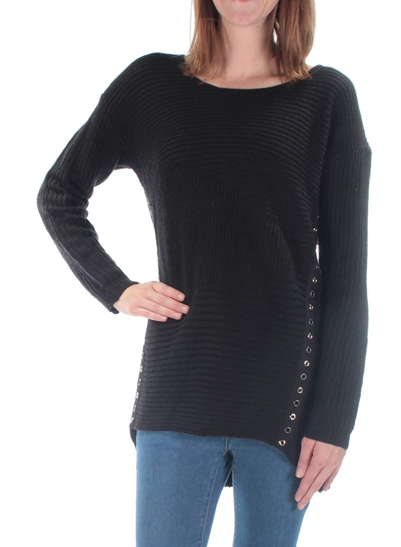 569abcf8c7a926 Get Quotations · Bar III Womens Asymmetrical Grommet-Detail Knit Sweater
