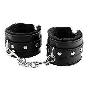 CYgoodluck Adjustable Soft PU Leather Handcuffs Ankle Bracelets Restraints Bondage Flirting Wrist Cuffs for Couples