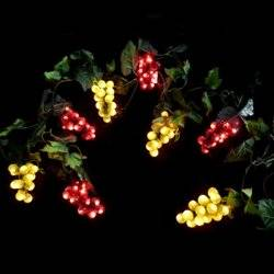 get quotations grape string lights 8 clusters of red and green leds plug in