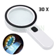 30X Handheld Large Magnifying Glass 12 LED Illuminated Lighted Magnifier Magnifying Glass with Light