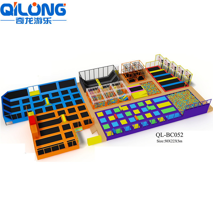Safety Large Indoor Trampoline Park Bed With Safety Net