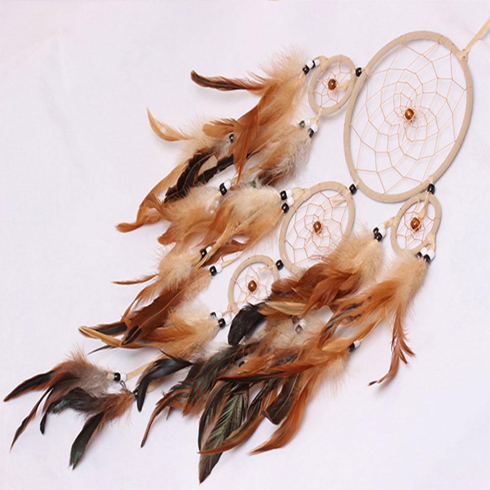 Handmade Boho Dream Catcher Circular Net Feather Hanging Pendant Crafts