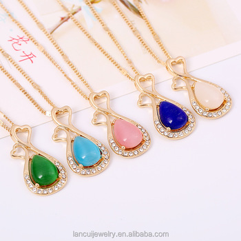 Fashion Opal Stone Pendant Diamond Gold Chain Necklace Designs Buy