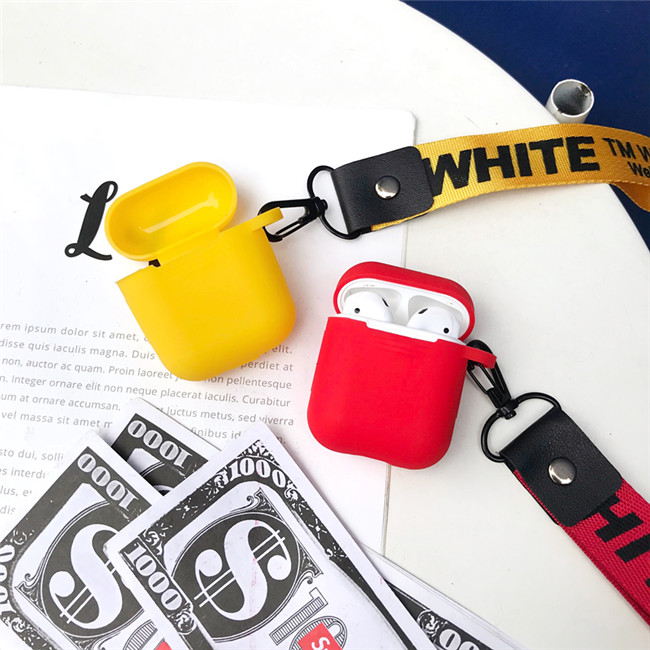 Hot Trend merk off lanyard soft silicon Silicone Wireless Oortelefoon Opladen Cover Case Met Riem voor AirPods 1 2