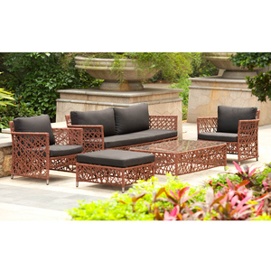 New arrival texilene line flower weaving sofa sets/outdoor furniturte texilene sofa set