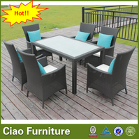 Restaurant furniture 6 seater rattan dining set