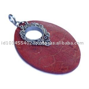 PD055-Sterling silver Bali pendant with coral stone