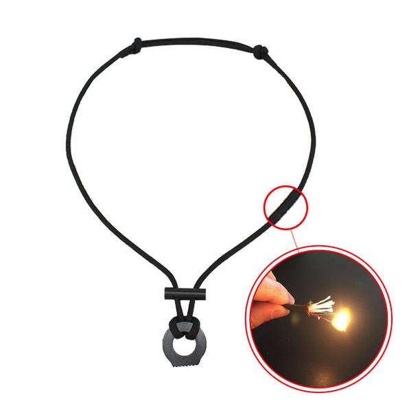 Fire Starter Necklace Paracord Survival Necklace Ferro Rod Flint and Steel Scraper Camping Tools Outdoor Emergency EDC Necklace, Accept customized color
