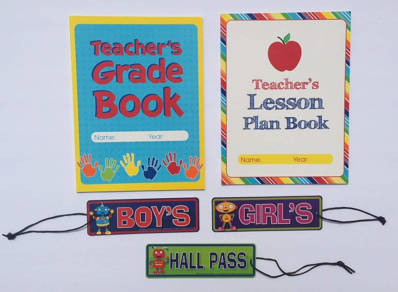 Teacher Grade Lesson Plan Book Teaching School Planner Student Hall Passes Classroom Homeschool Supplies Gifts 5 Piece Set …