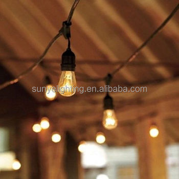 48 feet outdoor commercial string lighting 48 feet length 16awg2c sjtw cable 24pcs - Decorative String Lights