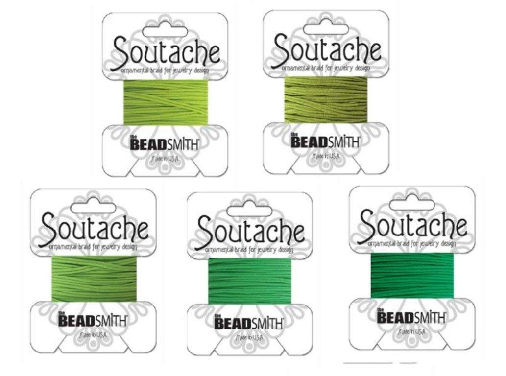 "Beadsmith Soutache Braided Rayon Cord / Trim 3mm Wide - 5-color Combo - ""Green Medley"" 3 Yds Per Color"