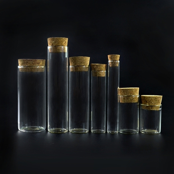 China Supplier Free Sample 1 ml Vials Clear Miniature Glass Bottle with Corks stopper