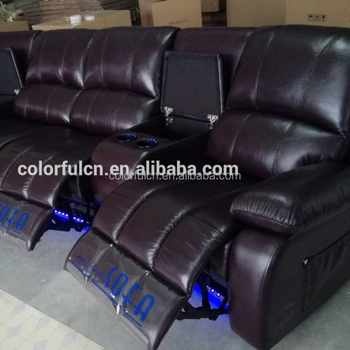 4 Seats Genuine Leather Home Theater Sofa Recliner Ls601(4) With Led Light  - Buy Home Theater Sofa Recliner,Cheers Leather Sofa Recliner,Italy Leather  ...