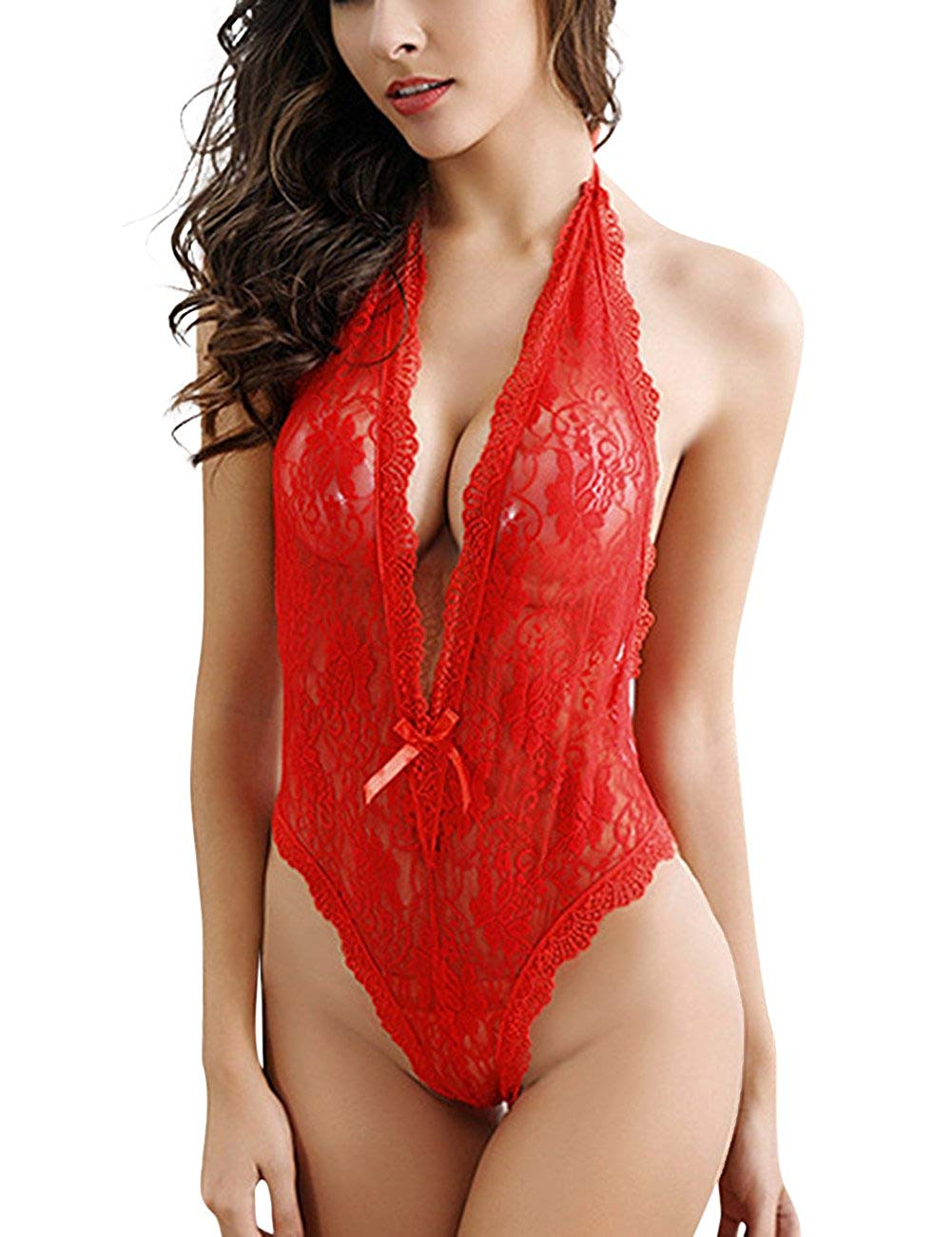 cd833a59c0cf6 Get Quotations · Women Sexy Lingerie Floral Lace Deep V-neck Babydoll Open  Back Teddy Bodysuit