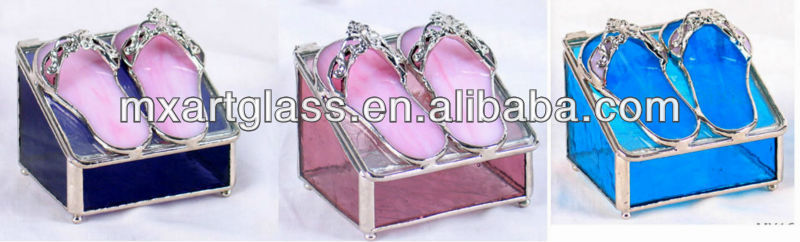MX160034 heart shaped stained glass jewelry box with photo display window on top cover