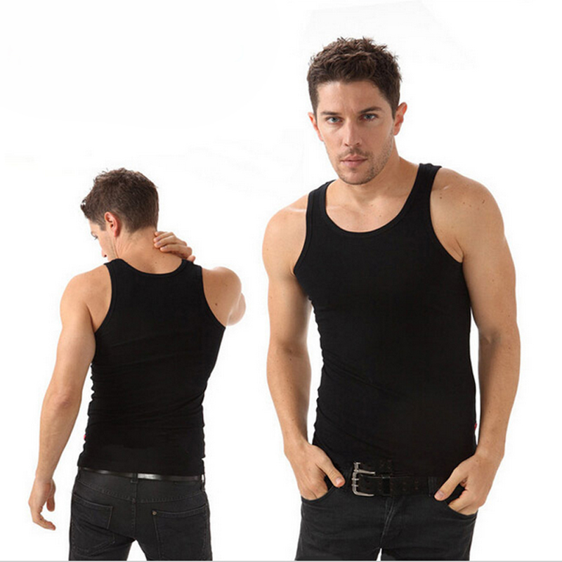 2015 Fitness Men Academia Solid Knitted No Cotton Free Shipping Men's Fashion Square Sleeveless Tank Top Hot Sale Clothing