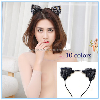 Girls Party Hair Accessories Women Sexy Black Lace Cat Ears Headband