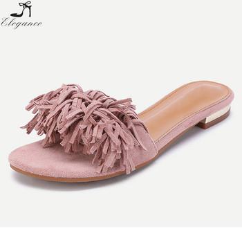 967c27a7bb0ede Wholesale Fancy Girls Pink Leather Fringe Embellished Sliders Tassel Peep  Toe Vacation ladies Designs Flip Flops
